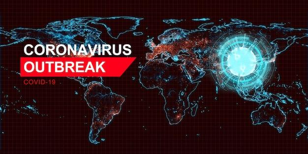 Globaler covid-19-conoravirus-ausbruch. 3d-darstellung. elemente dieses von der nasa bereitgestellten bildes.