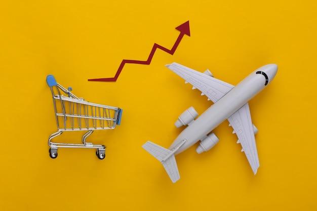 Globaler supermarkt. verstärkter internationaler versand. einkaufswagen und flugzeug mit wachstumspfeil auf gelb