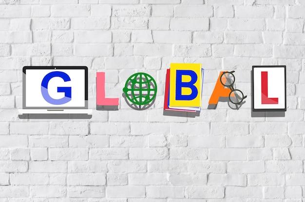 Globales internationales weltweites universelles konzept