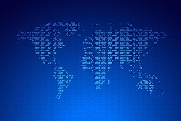 Globales netzwerk auf weltkarte für technologie und zukunftskonzept
