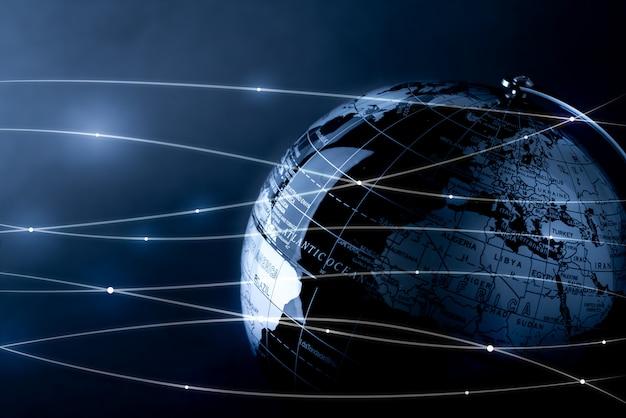 Globales netzwerk für technologie und zukunftskonzept
