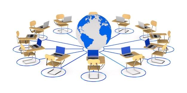 Globales netzwerk. isoliertes 3d-rendering