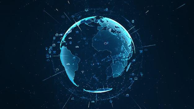 Globales netzwerkkonzept. iot (internet der dinge).