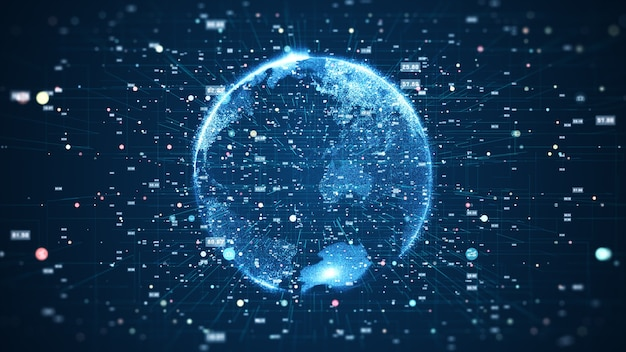 Globales netzwerkverbindungs- und datenverbindungskonzept. globales weltnetzwerk der kommunikationstechnologie.