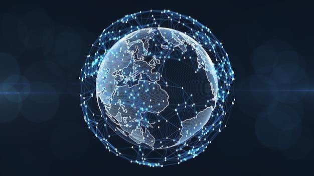 Globales verbindungskonzept des sozialen netzes. verbindungsleute-ikonenlink im internet.