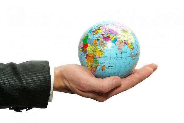 Globus erde zur hand
