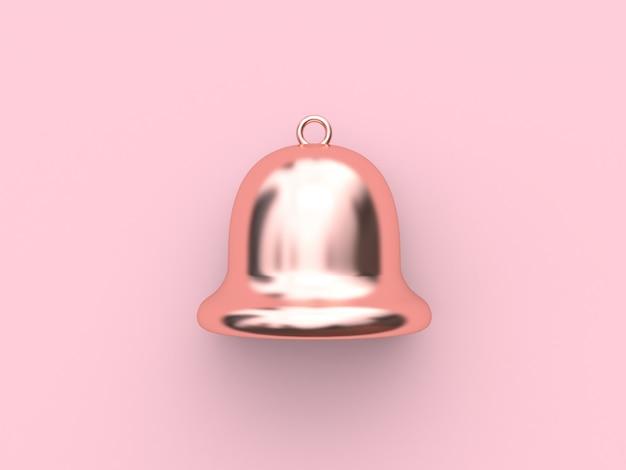 Glocke rosa metallic reflexion rose gold-weihnachten glocke minimal rosa 3d-rendering weihnachten urlaub neujahr konzept
