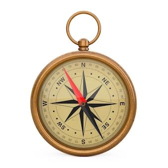 Glossy bronze vintage kompass mit windrose auf weißem hintergrund. 3d-rendering