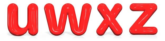 Glossy paint buchstaben u, w, x, z kleinbuchstaben der blase