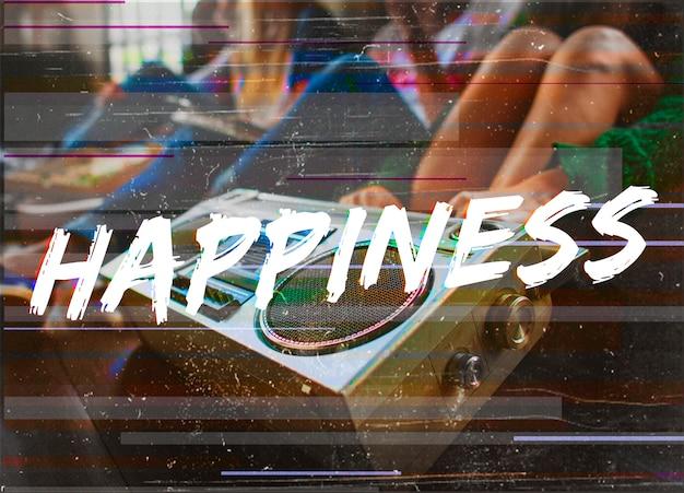 Glück-reizendes lächeln-positivitäts-grafik-wort