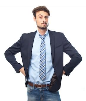 Glücklich geschäftsmann stress beruf chef