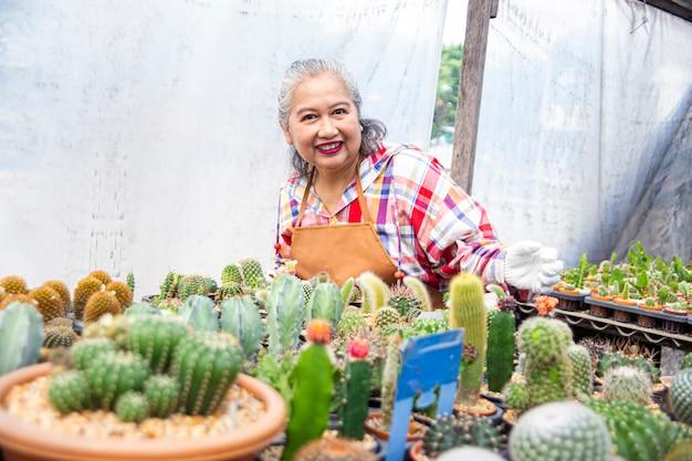 Glückliche ältere frau mit schönem kaktus