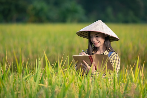 Glückliche asiatische frau schreiben sie notizen in reisfeldern