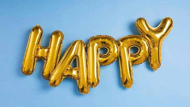 Glückliche buchstaben ballons zusammensetzung