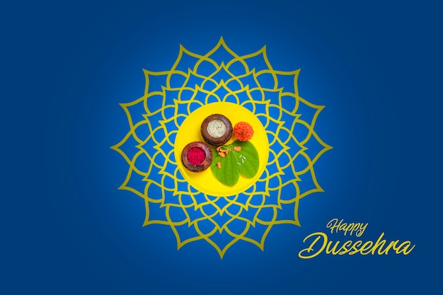 Glückliche dussehra-grußkarte, grünes blatt und reis, indisches festival dussehra