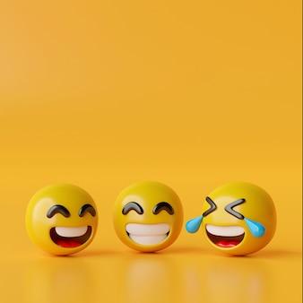Glückliche emoji-symbole auf gelbem hintergrund 3d-darstellung