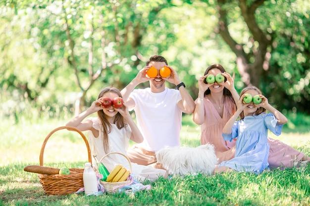 Glückliche familie auf einem picknick im park an einem sonnigen tag