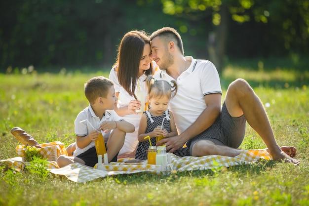 Glückliche familie beim picknick