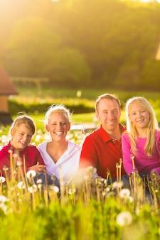 Glückliche familie, die in der sommerwiese sitzt