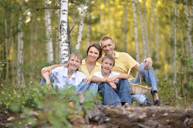 Glückliche familie, die in einem birkenwald spaziert