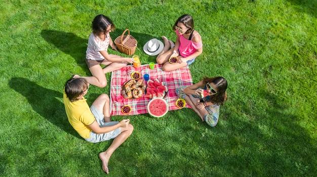 Glückliche familie mit den kindern, die picknick im park, eltern mit den kindern draußen sitzen auf gartengras und essen gesunde mahlzeiten, luftbrummenansicht von oben, familienurlaub und wochenendenkonzept haben
