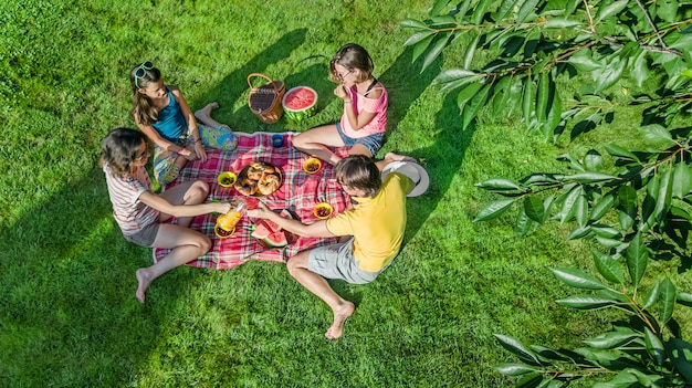 Glückliche familie mit den kindern, die picknick im park haben, eltern mit den kindern, die auf gartengras sitzen und draußen gesunde mahlzeiten essen, luftbrummenansicht von oben, familienurlaub und wochenende