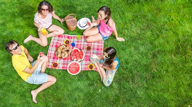 Glückliche familie mit kindern, die picknick im park haben, eltern mit kindern, die auf gartengras sitzen und gesunde mahlzeiten im freien essen, luftdrohnenansicht von oben, familienurlaub und wochenendkonzept