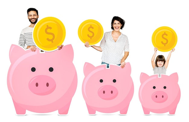 Glückliche familie mit sparschweinen