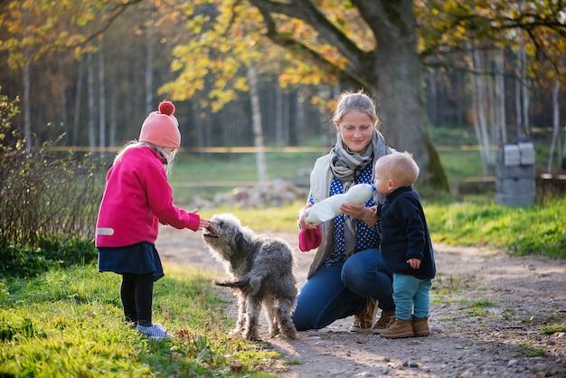 Glückliche familie mutter und zwei kinder mädchen und junge spielen mit hunden im freien