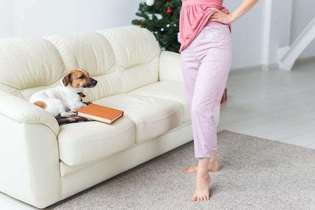 Glückliche frau mit hund. weihnachtsbaum mit geschenken darunter. wohnzimmer eingerichtet.