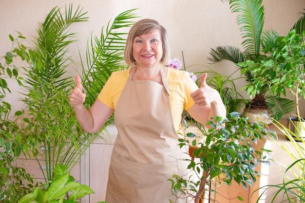 Glückliche frau zeigt klasse mit den händen und kümmert sich um pflanzen in einem topf online-bestellungen für kleine unternehmen
