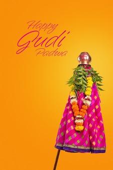 Glückliche gudhi padva grußkarte. traditionelles neujahrsfest für marathi hindus.