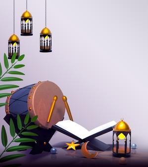 Glückliche islamische dekoration mit laternenkoran und bedug-trommel