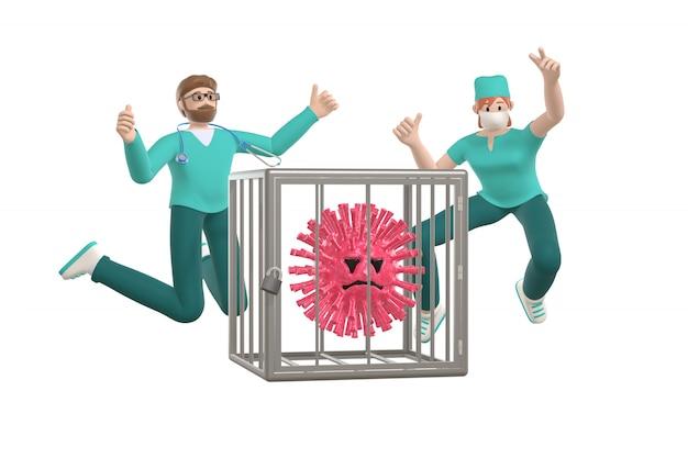 Glückliche junge ärzte, die vor freude sprangen, besiegten das coronavirus und sperrten ihn in einen käfig. lustige und beängstigende zeichentrickfigur des sars-moleküls. stoppen sie krankheit, pandemie.