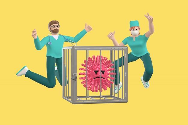 Glückliche junge ärzte, die vor freude sprangen, besiegten das virus und sperrten es in einen käfig. lustige und beängstigende zeichentrickfigur des sars-moleküls. stoppen sie krankheit, pandemie, grippe, coronavirus
