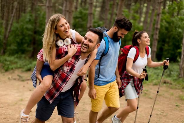 Glückliche junge gruppe, die zusammen durch den wald wandert