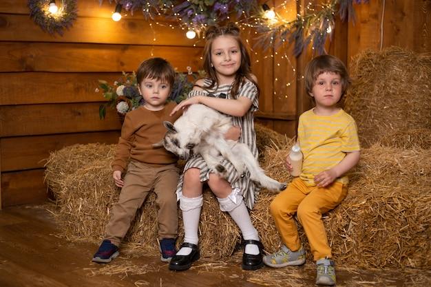 Glückliche kinder, die mit ziege in einem schuppen im bauernhof auf dem hintergrund des heus spielen