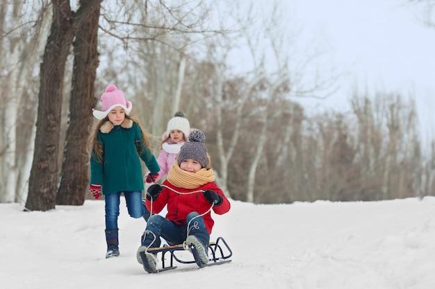 Glückliche kinder, die spaß haben und im schnee rodeln