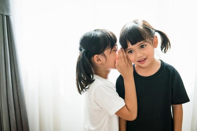 Glückliche kleine asiatische geschwister, die geheimnisse teilen