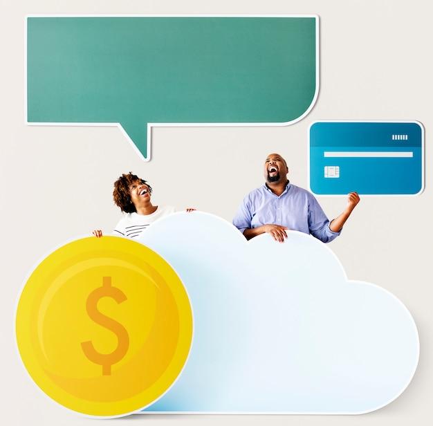 Glückliche menschen mit wolken- und technologieikonen