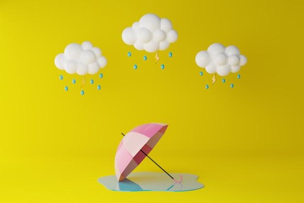 Glückliche monsunzeit. wolke, regenschirm und regnerisch auf gelb. 3d-rendering-illustration.