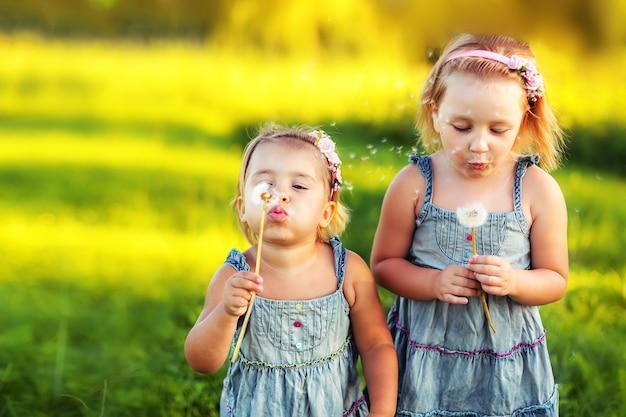 Glückliche niedliche kinder, die spaß draußen blasen löwenzahn zusammen. kindheit, natur, urlaub, kinderlebensstilkonzept