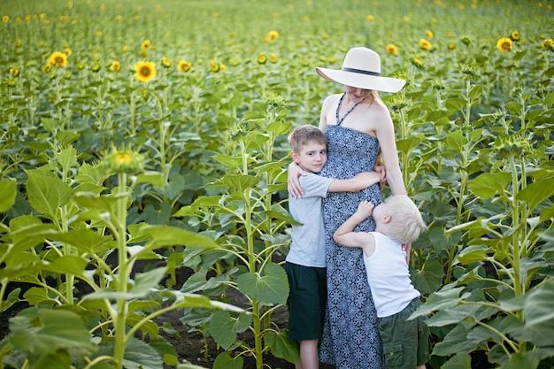 Glückliche schwangere mutter, die zwei kleine söhne auf einem feld von blühenden sonnenblumen umarmt