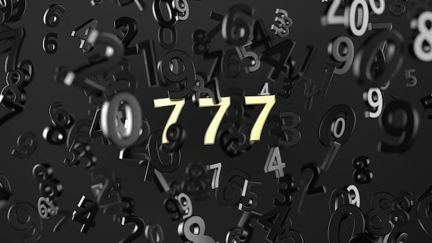 Glückliche sieben mit goldfarbe auf nummer