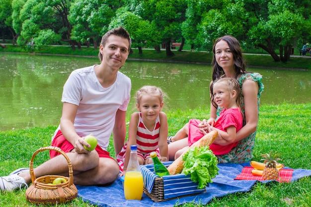 Glückliche vierköpfige familie, die im park am sommertag picknickt