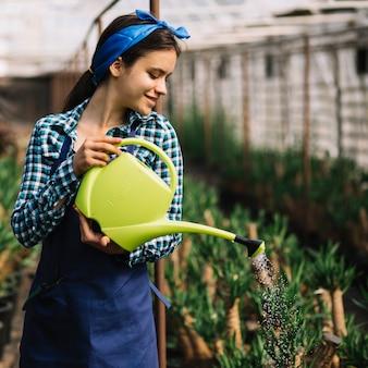 Glückliche weibliche gärtnerbewässerungsanlagen im gewächshaus