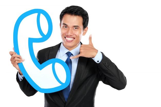 Glücklicher callcenter-betreiber