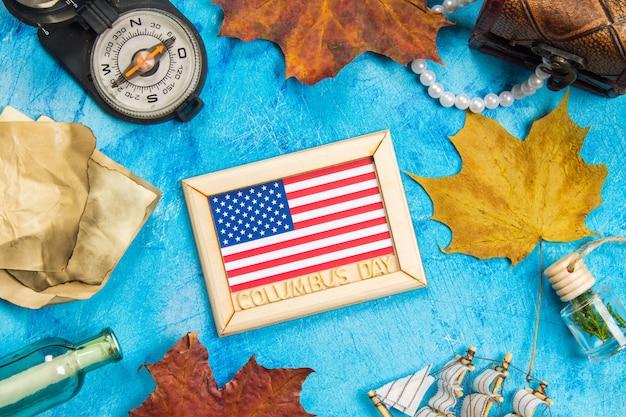 Glücklicher columbus-tagestext. konzept des us-feiertags. der entdecker amerikas. ferienstaaten