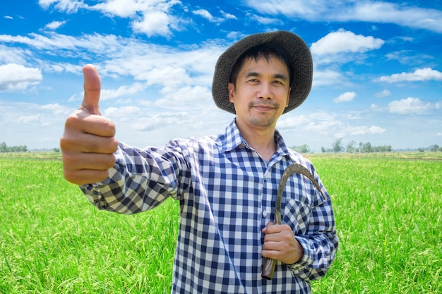Glücklicher daumen des asiatischen jungen landwirts handhoch und sichel auf einem grünen reisgebiet und einem blauen himmel halten