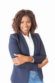 Glücklicher erfolgreicher weiblicher agent